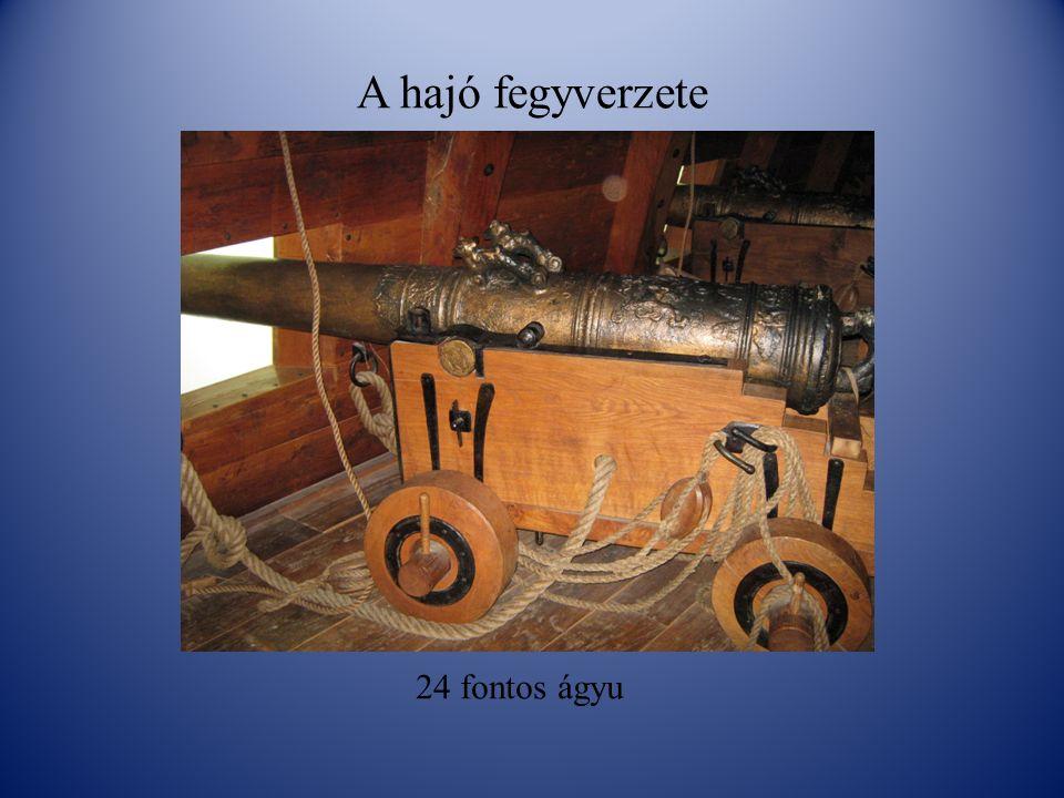 A hajó fegyverzete 24 fontos ágyu