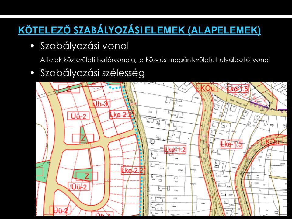 KÖTELEZŐ SZABÁLYOZÁSI ELEMEK (ALAPELEMEK) Szabályozási vonal A telek közterületi határvonala, a köz- és magánterületet elválasztó vonal Szabályozási szélesség