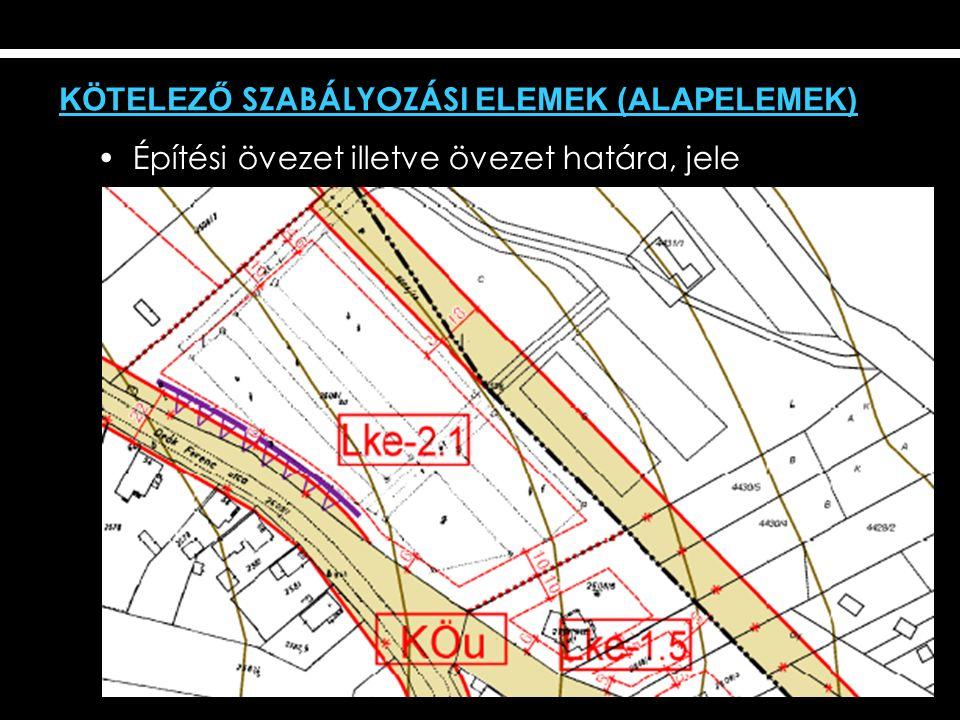 Építési övezet illetve övezet határa, jele KÖTELEZŐ SZABÁLYOZÁSI ELEMEK (ALAPELEMEK)