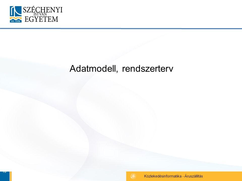 10 Közlekedésinformatika - Áruszállítás Adatmodell, rendszerterv