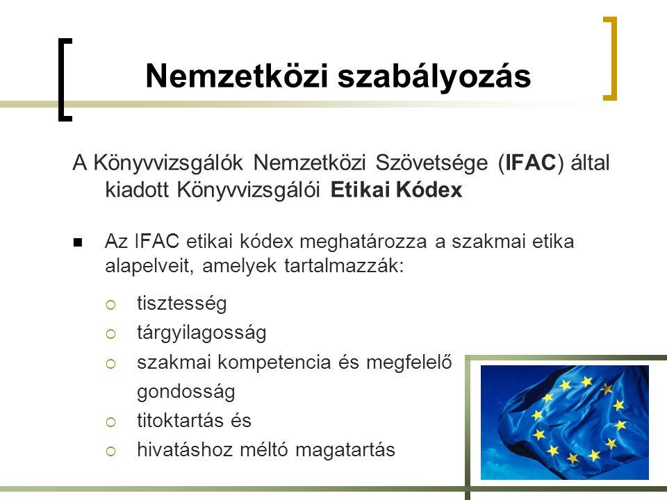Nemzetközi szabályozás A Könyvvizsgálók Nemzetközi Szövetsége (IFAC) által kiadott Könyvvizsgálói Etikai Kódex Az IFAC etikai kódex meghatározza a szakmai etika alapelveit, amelyek tartalmazzák:  tisztesség  tárgyilagosság  szakmai kompetencia és megfelelő gondosság  titoktartás és  hivatáshoz méltó magatartás