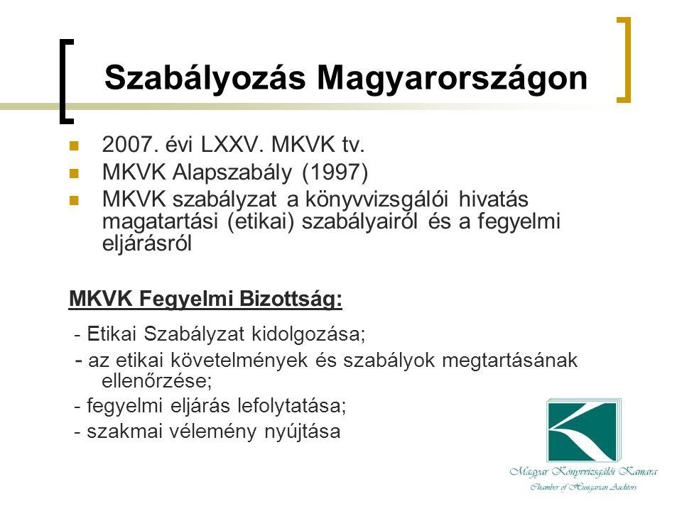 Szabályozás Magyarországon 2007. évi LXXV. MKVK tv.
