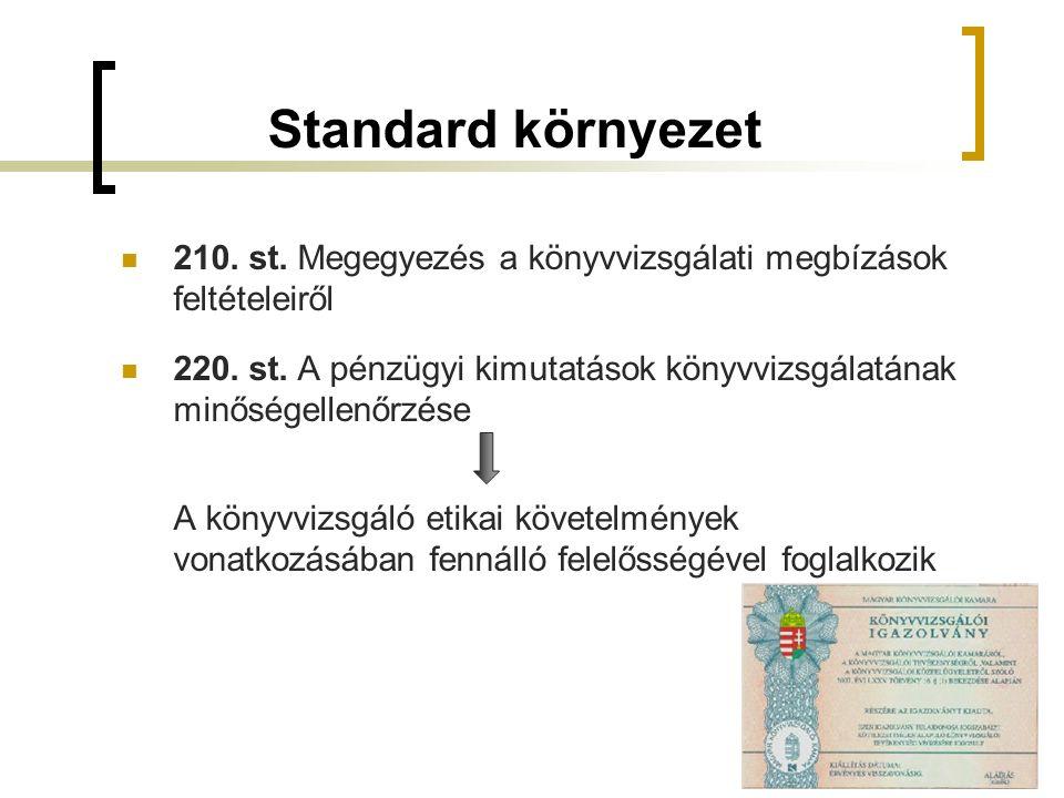 Standard környezet 210. st. Megegyezés a könyvvizsgálati megbízások feltételeiről 220.