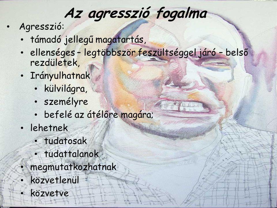 Az agresszió fogalma Agresszió: támadó jellegű magatartás, ellenséges – legtöbbször feszültséggel járó – belső rezdületek, Irányulhatnak külvilágra, személyre befelé az átélőre magára; lehetnek tudatosak tudattalanok megmutatkozhatnak közvetlenül közvetve