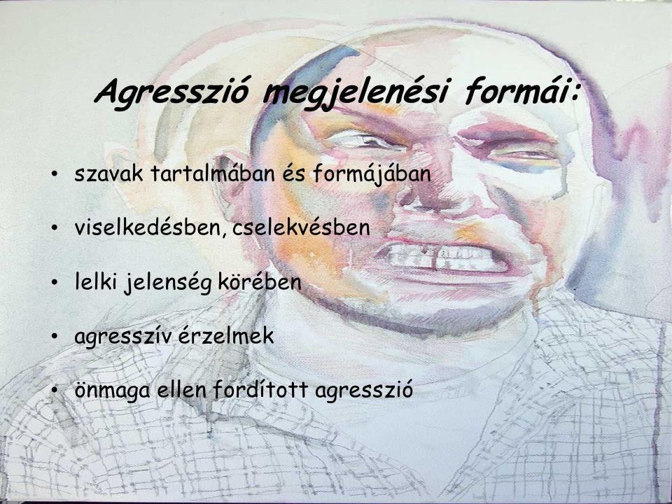 Agresszió megjelenési formái: szavak tartalmában és formájában  viselkedésben, cselekvésben  lelki jelenség körében agresszív érzelmek önmaga ellen fordított agresszió