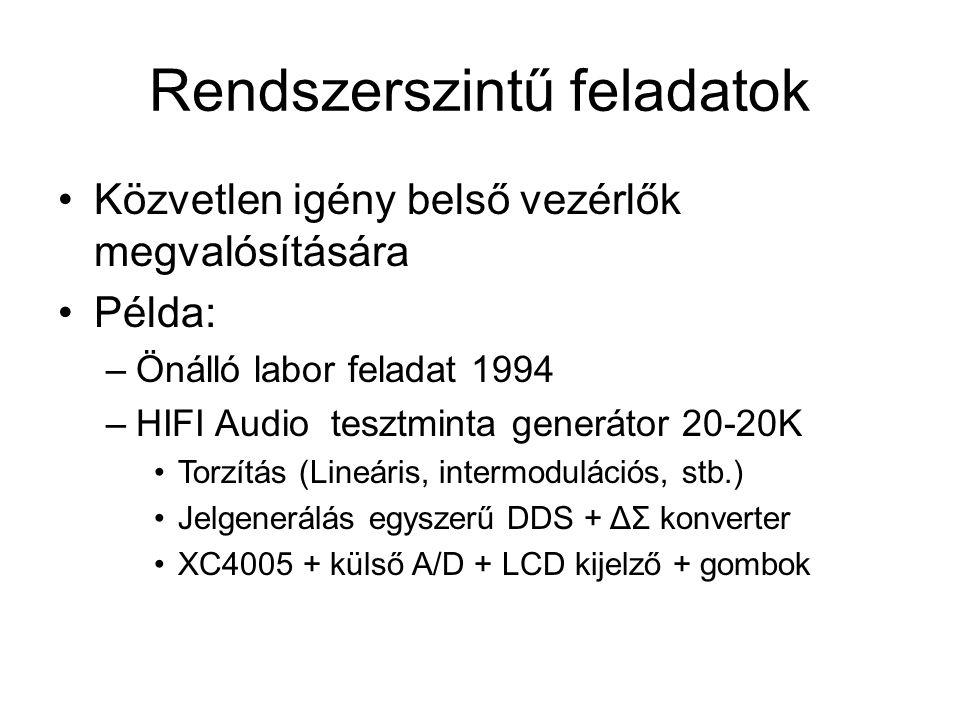 Rendszerszintű feladatok Közvetlen igény belső vezérlők megvalósítására Példa: –Önálló labor feladat 1994 –HIFI Audio tesztminta generátor 20-20K Torzítás (Lineáris, intermodulációs, stb.) Jelgenerálás egyszerű DDS + ΔΣ konverter XC4005 + külső A/D + LCD kijelző + gombok