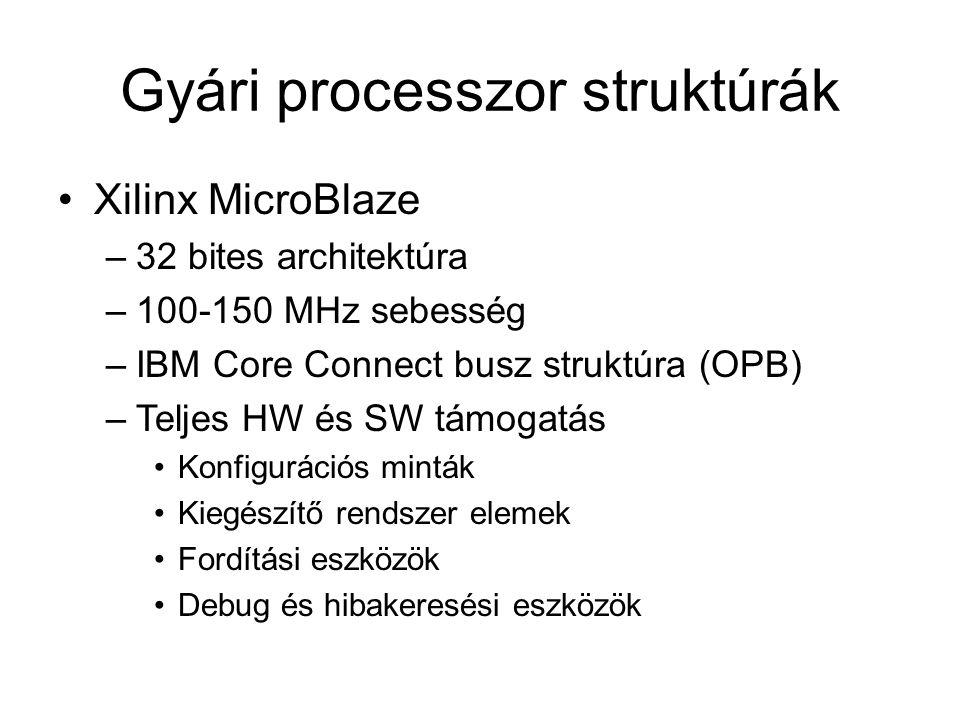Gyári processzor struktúrák Xilinx MicroBlaze –32 bites architektúra –100-150 MHz sebesség –IBM Core Connect busz struktúra (OPB) –Teljes HW és SW támogatás Konfigurációs minták Kiegészítő rendszer elemek Fordítási eszközök Debug és hibakeresési eszközök