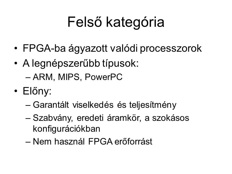 Felső kategória FPGA-ba ágyazott valódi processzorok A legnépszerűbb típusok: –ARM, MIPS, PowerPC Előny: –Garantált viselkedés és teljesítmény –Szabvány, eredeti áramkör, a szokásos konfigurációkban –Nem használ FPGA erőforrást