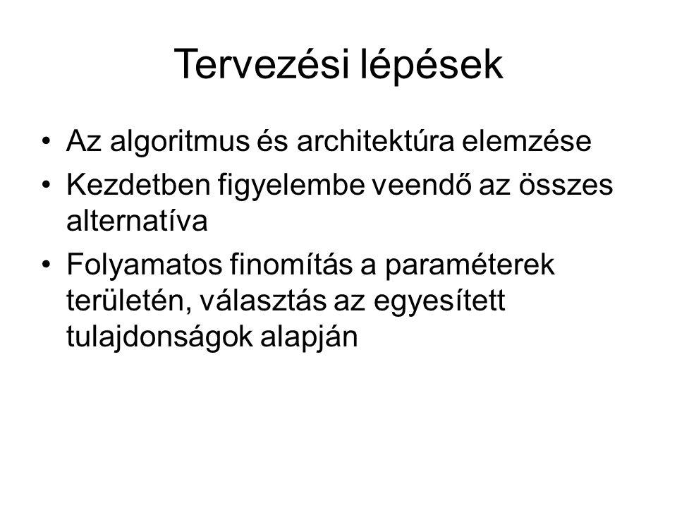 Tervezési lépések Az algoritmus és architektúra elemzése Kezdetben figyelembe veendő az összes alternatíva Folyamatos finomítás a paraméterek területén, választás az egyesített tulajdonságok alapján