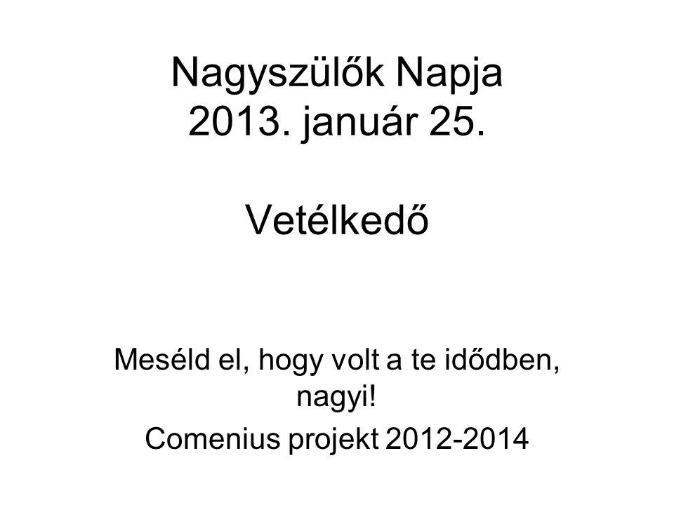 Nagyszülők Napja 2013. január 25. Vetélkedő Meséld el, hogy volt a te idődben, nagyi! Comenius projekt 2012-2014