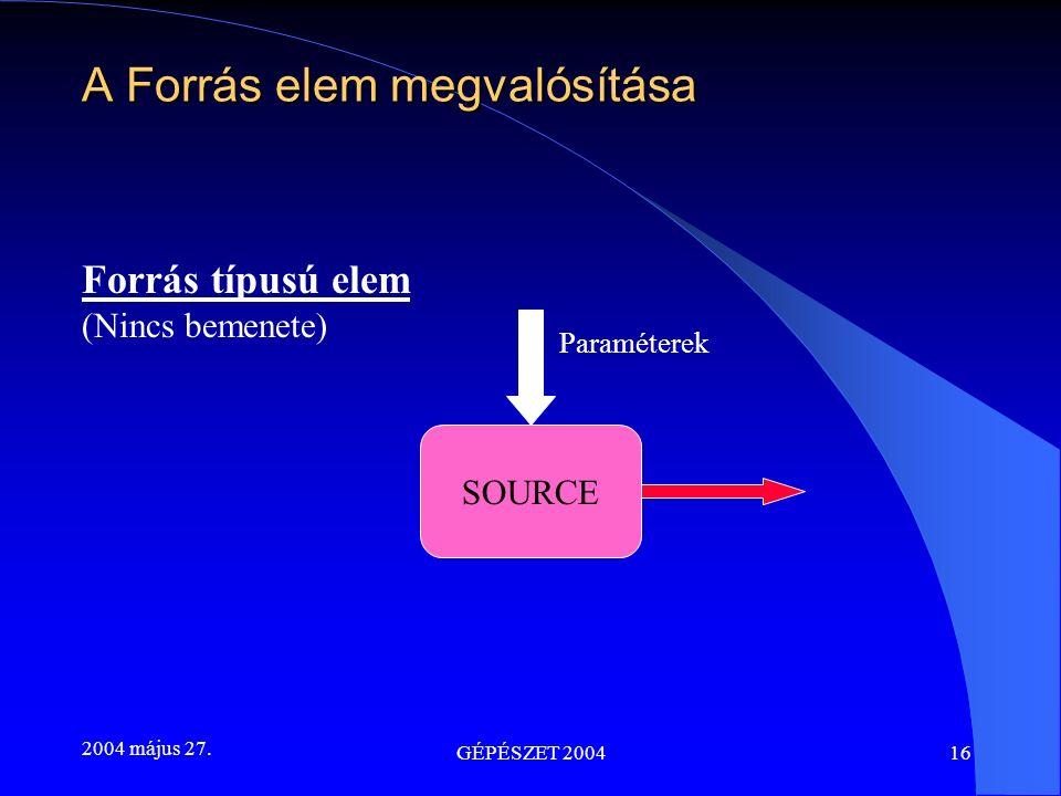2004 május 27. GÉPÉSZET 200416 A Forrás elem megvalósítása Forrás típusú elem (Nincs bemenete) Paraméterek SOURCE