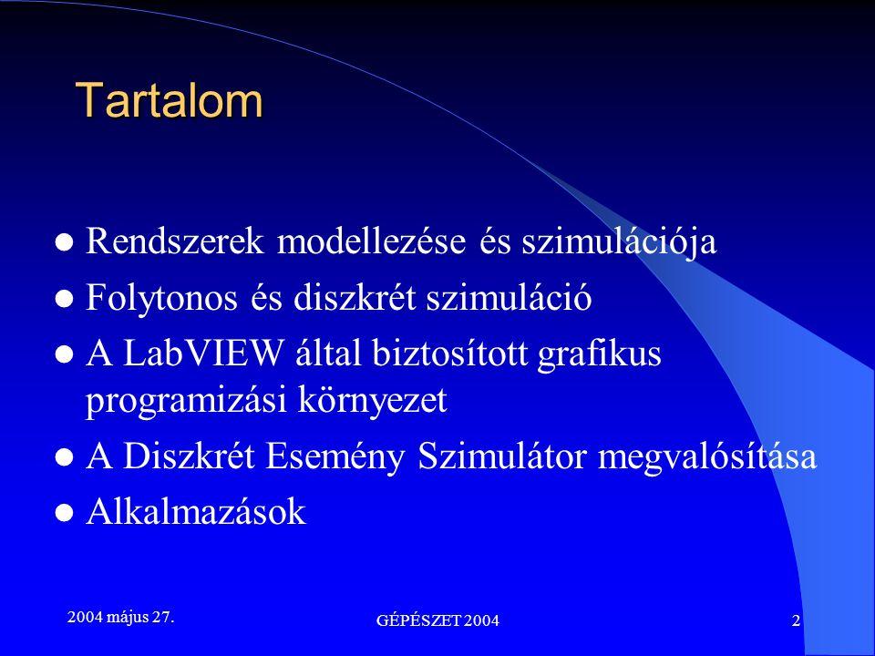2004 május 27. GÉPÉSZET 20042 Tartalom Rendszerek modellezése és szimulációja Folytonos és diszkrét szimuláció A LabVIEW által biztosított grafikus pr