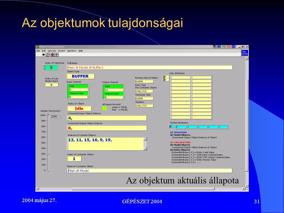 2004 május 27. GÉPÉSZET 200431 Az objektumok tulajdonságai Az objektum aktuális állapota