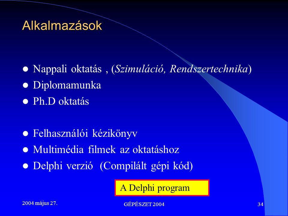 2004 május 27. GÉPÉSZET 200434 Alkalmazások Nappali oktatás, (Szimuláció, Rendszertechnika) Diplomamunka Ph.D oktatás Felhasználói kézikönyv Multimédi