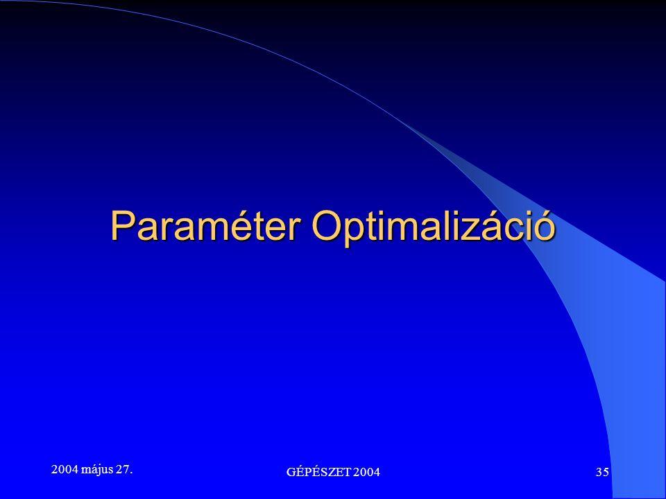 2004 május 27. GÉPÉSZET 200435 Paraméter Optimalizáció