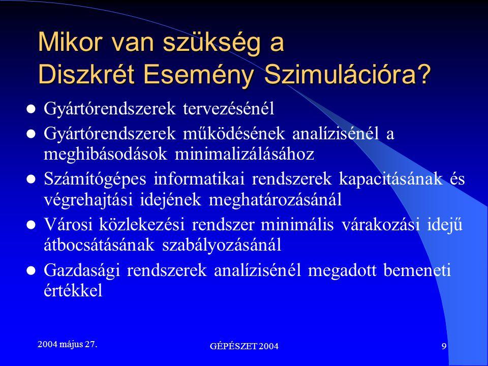 2004 május 27. GÉPÉSZET 20049 Mikor van szükség a Diszkrét Esemény Szimulációra? Gyártórendszerek tervezésénél Gyártórendszerek működésének analízisén