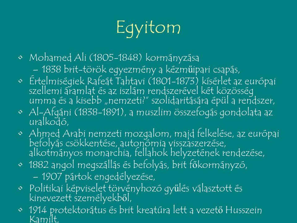 """Egyitom Mohamed Ali (1805-1848) kormányzása –1838 brit-török egyezmény a kézm ű ipari csapás, Értelmiségiek Rafeát Tahtavi (1801-1873) kísérlet az európai szellemi áramlat és az iszlám rendszerével két közösség umma és a kisebb """"nemzeti? szolidaritására épül a rendszer, Al-Afgáni (1838-1891), a muszlim összefogás gondolata az uralkodó, Ahmed Arabi nemzeti mozgalom, majd felkelése, az európai befolyás csökkentése, autonómia visszaszerzése, alkotmányos monarchia, fellahok helyzetének rendezése, 1882 angol megszállás és befolyás, brit f ő kormányzó, –1907 pártok engedélyezése, Politikai képviselet törvényhozó gy ű lés választott és kinevezett személyekb ő l, 1914 protektorátus és brit kreatúra lett a vezet ő Husszein Kamilt,"""