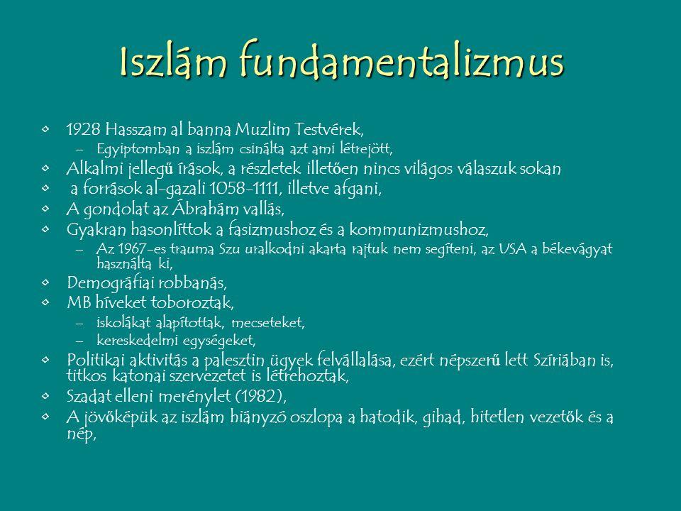 Iszlám fundamentalizmus 1928 Hasszam al banna Muzlim Testvérek, –Egyiptomban a iszlám csinálta azt ami létrejött, Alkalmi jelleg ű írások, a részletek illet ő en nincs világos válaszuk sokan a források al-gazali 1058-1111, illetve afgani, A gondolat az Ábrahám vallás, Gyakran hasonlíttok a fasizmushoz és a kommunizmushoz, –Az 1967-es trauma Szu uralkodni akarta rajtuk nem segíteni, az USA a békevágyat használta ki, Demográfiai robbanás, MB híveket toboroztak, –iskolákat alapítottak, mecseteket, –kereskedelmi egységeket, Politikai aktivitás a palesztin ügyek felvállalása, ezért népszer ű lett Szíriában is, titkos katonai szervezetet is létrehoztak, Szadat elleni merénylet (1982), A jöv ő képük az iszlám hiányzó oszlopa a hatodik, gihad, hitetlen vezet ő k és a nép,