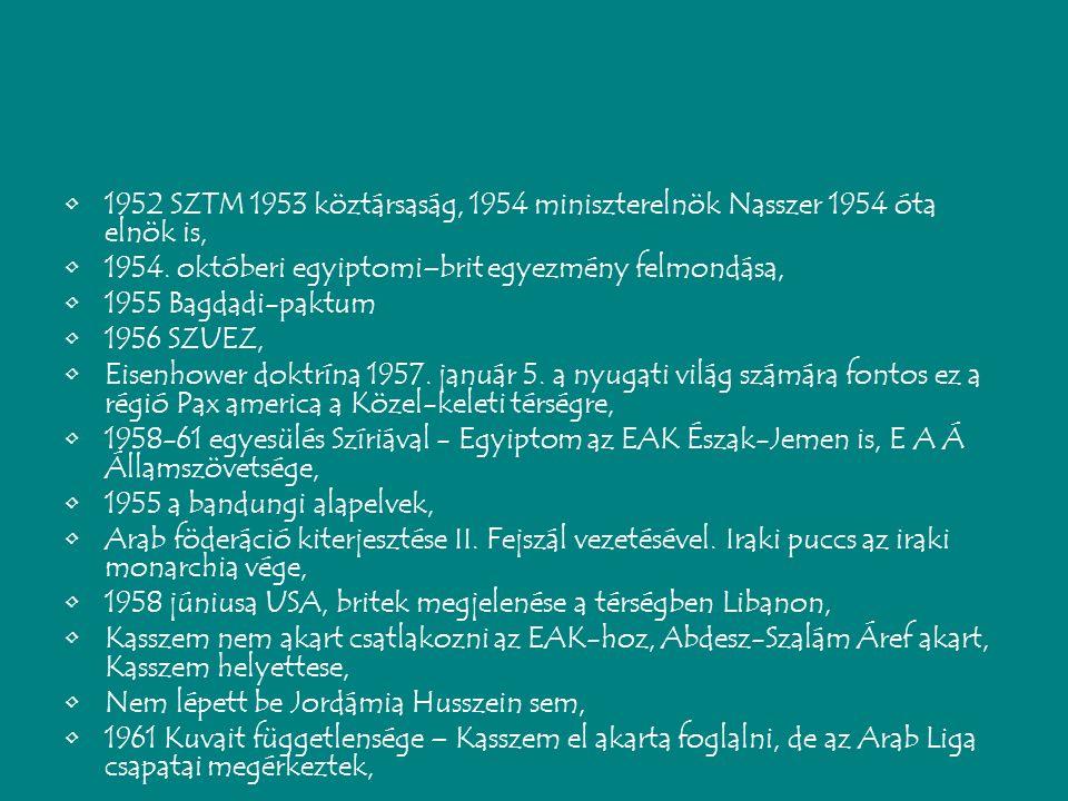 1952 SZTM 1953 köztársaság, 1954 miniszterelnök Nasszer 1954 óta elnök is, 1954.