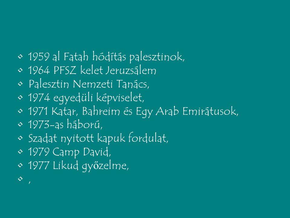 1959 al Fatah hódítás palesztinok, 1964 PFSZ kelet Jeruzsálem Palesztin Nemzeti Tanács, 1974 egyedüli képviselet, 1971 Katar, Bahreim és Egy Arab Emirátusok, 1973-as háború, Szadat nyitott kapuk fordulat, 1979 Camp David, 1977 Likud gy ő zelme,,