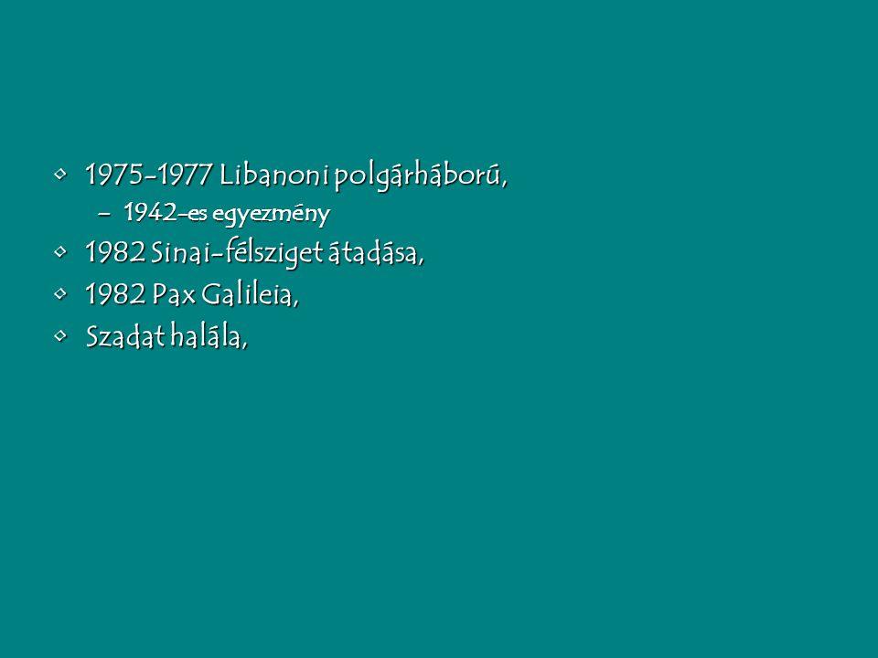 1975-1977 Libanoni polgárháború,1975-1977 Libanoni polgárháború, –1942-es egyezmény 1982 Sinai-félsziget átadása,1982 Sinai-félsziget átadása, 1982 Pax Galileia,1982 Pax Galileia, Szadat halála,Szadat halála,