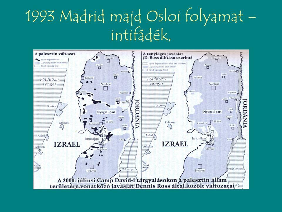 1993 Madrid majd Osloi folyamat – intifádék,