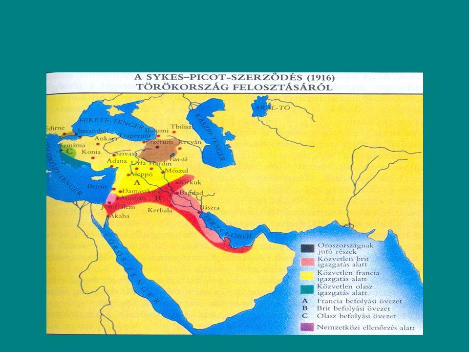 1913 Kairó a centralizáció miatt feléledezett a összarab kongresszus Párizsban, Hedzsász oszmán kézen a bels ő félszigeten vahhabiták vették át az irányítást, brit befolyás Aden, 1901 Kuvait is.