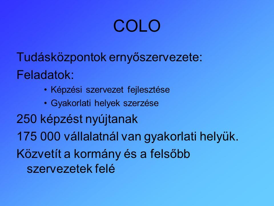 COLO Tudásközpontok ernyőszervezete: Feladatok: Képzési szervezet fejlesztése Gyakorlati helyek szerzése 250 képzést nyújtanak 175 000 vállalatnál van gyakorlati helyük.
