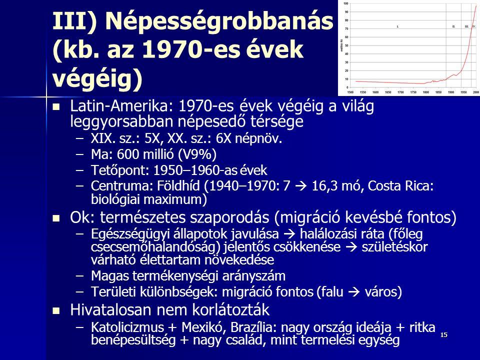 1515 III) Népességrobbanás (kb. az 1970-es évek végéig) Latin-Amerika: 1970-es évek végéig a világ leggyorsabban népesedő térsége – –XIX. sz.: 5X, XX.