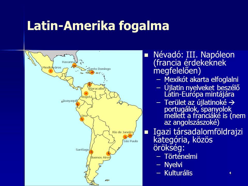 44 Latin-Amerika fogalma Névadó: III. Napóleon (francia érdekeknek megfelelően) – –Mexikót akarta elfoglalni – –Újlatin nyelveket beszélő Latin-Európa