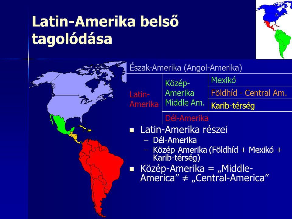 Latin-Amerika belső tagolódása Észak-Amerika (Angol-Amerika) Latin- Amerika Közép- Amerika Middle Am. Mexikó Földhíd - Central Am. Karib-térség Dél-Am