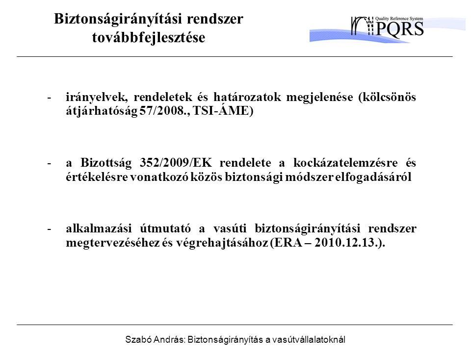 Szabó András: Biztonságirányítás a vasútvállalatoknál Biztonságirányítási rendszer továbbfejlesztése -irányelvek, rendeletek és határozatok megjelenése (kölcsönös átjárhatóság 57/2008., TSI-ÁME) -a Bizottság 352/2009/EK rendelete a kockázatelemzésre és értékelésre vonatkozó közös biztonsági módszer elfogadásáról -alkalmazási útmutató a vasúti biztonságirányítási rendszer megtervezéséhez és végrehajtásához (ERA – 2010.12.13.).