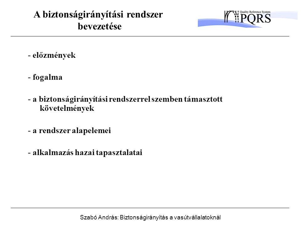 Szabó András: Biztonságirányítás a vasútvállalatoknál A biztonságirányítási rendszer bevezetése - előzmények - fogalma - a biztonságirányítási rendszerrel szemben támasztott követelmények - a rendszer alapelemei - alkalmazás hazai tapasztalatai