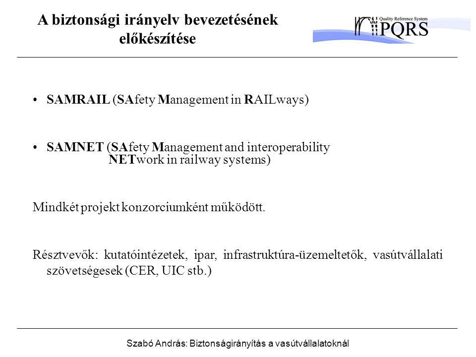 Szabó András: Biztonságirányítás a vasútvállalatoknál Biztonsági kockázat