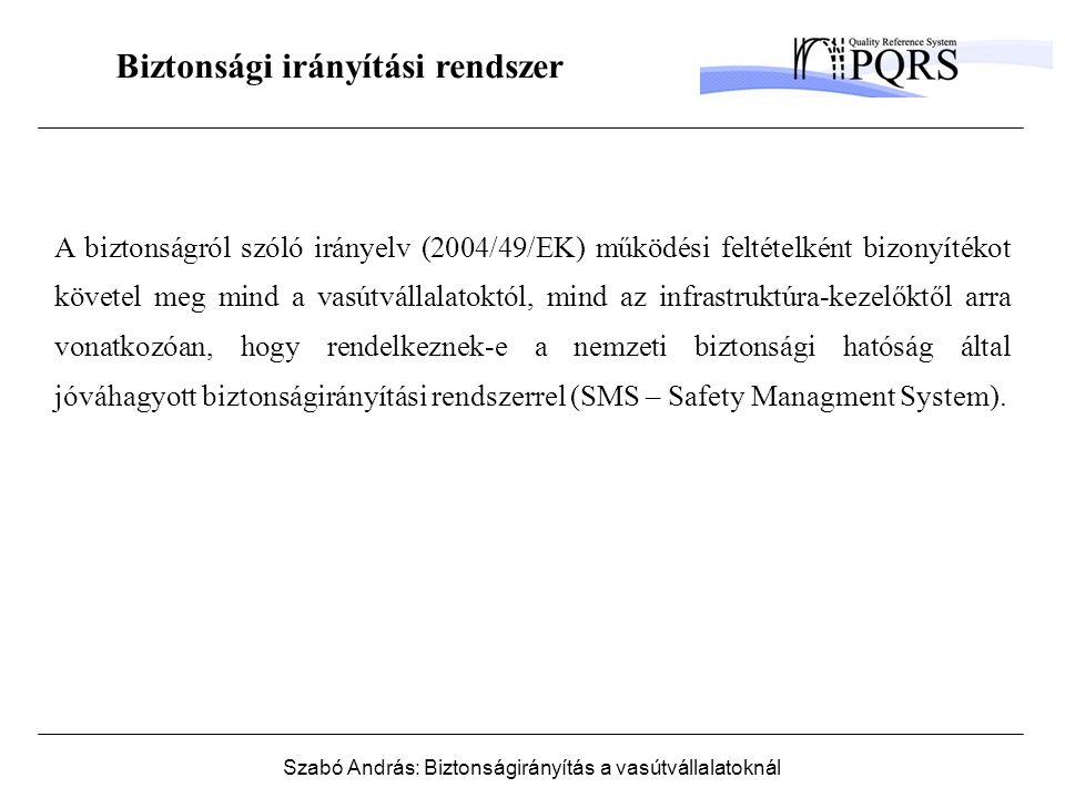 Szabó András: Biztonságirányítás a vasútvállalatoknál Biztonsági irányítási rendszer A biztonságról szóló irányelv (2004/49/EK) működési feltételként bizonyítékot követel meg mind a vasútvállalatoktól, mind az infrastruktúra-kezelőktől arra vonatkozóan, hogy rendelkeznek-e a nemzeti biztonsági hatóság által jóváhagyott biztonságirányítási rendszerrel (SMS – Safety Managment System).
