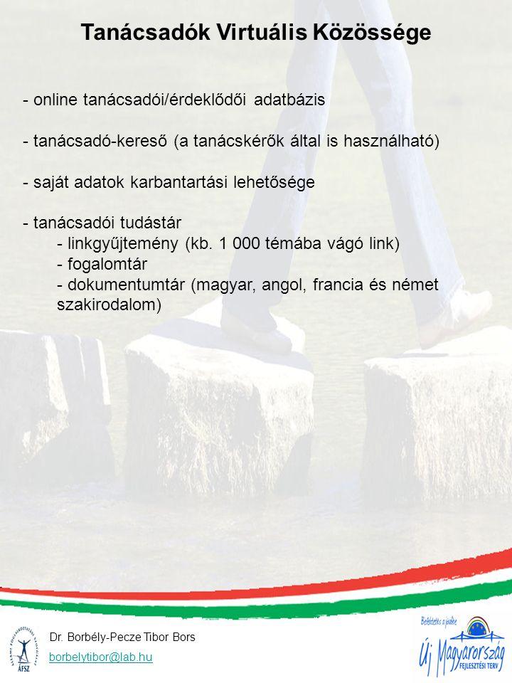 Dr. Borbély-Pecze Tibor Bors borbelytibor@lab.hu Tanácsadók Virtuális Közössége - online tanácsadói/érdeklődői adatbázis - tanácsadó-kereső (a tanácsk