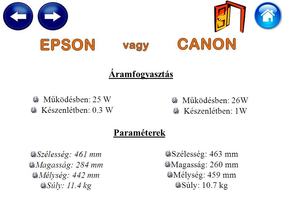 Áramfogyasztás Működésben: 26W Készenlétben: 1W Működésben: 25 W Készenlétben: 0.3 W Paraméterek Szélesség: 461 mm Magasság: 284 mm Mélység: 442 mm Súly: 11.4 kg Szélesség: 463 mm Magasság: 260 mm Mélység: 459 mm Súly: 10.7 kg
