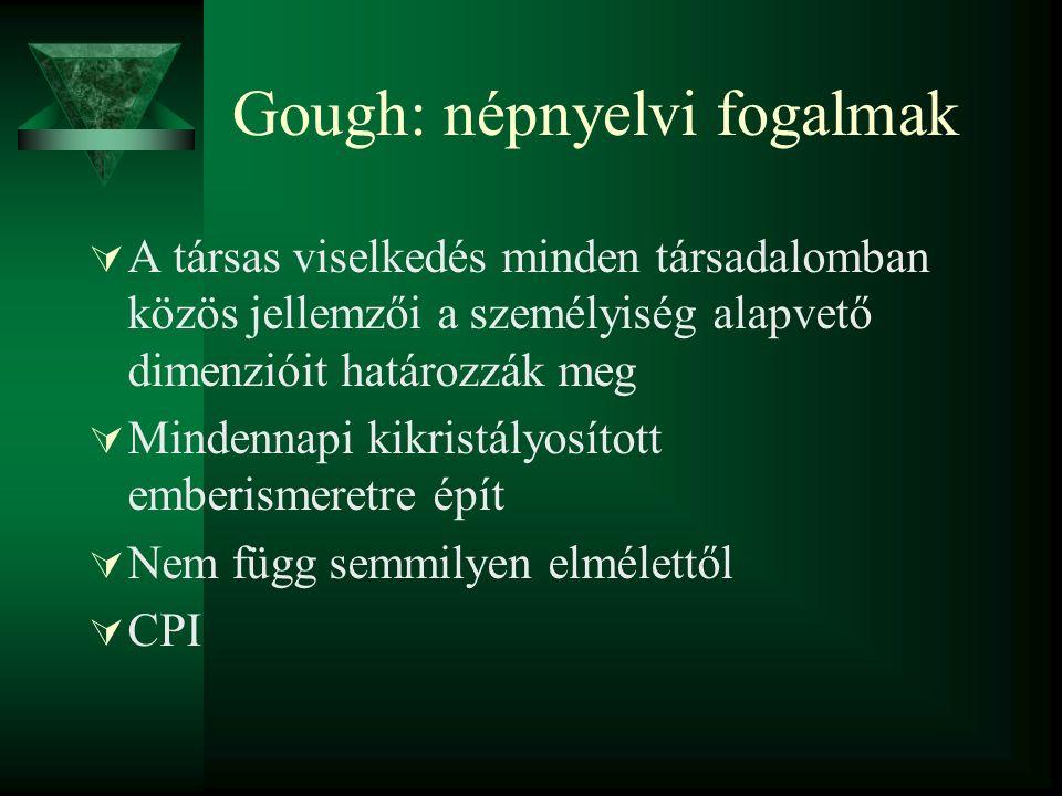 A pszichoticizmus szerkezete Pszichoticizmus AgresszívHidegEgocentrikusKözömbösImpulzívAntiszociálisKreatívRészvétlenMakacs