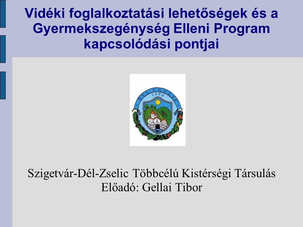Vidéki foglalkoztatási lehetőségek és a Gyermekszegénység Elleni Program kapcsolódási pontjai Szigetvár-Dél-Zselic Többcélú Kistérségi Társulás Előadó: Gellai Tibor