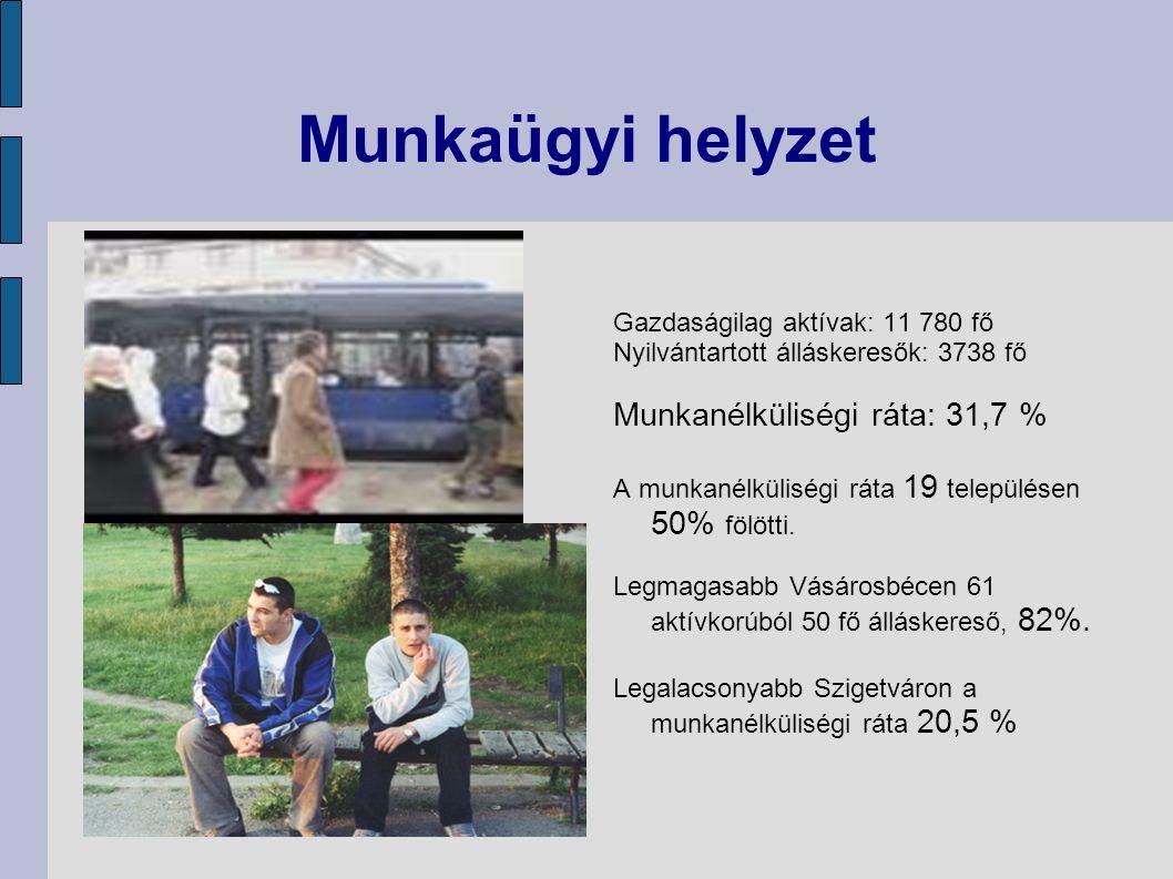 Munkaügyi helyzet Gazdaságilag aktívak: 11 780 fő Nyilvántartott álláskeresők: 3738 fő Munkanélküliségi ráta: 31,7 % A munkanélküliségi ráta 19 településen 50% fölötti.