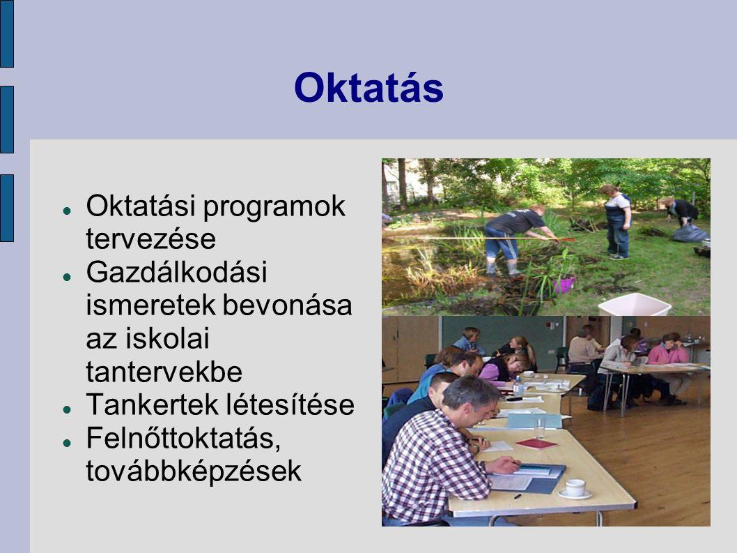 Oktatás Oktatási programok tervezése Gazdálkodási ismeretek bevonása az iskolai tantervekbe Tankertek létesítése Felnőttoktatás, továbbképzések