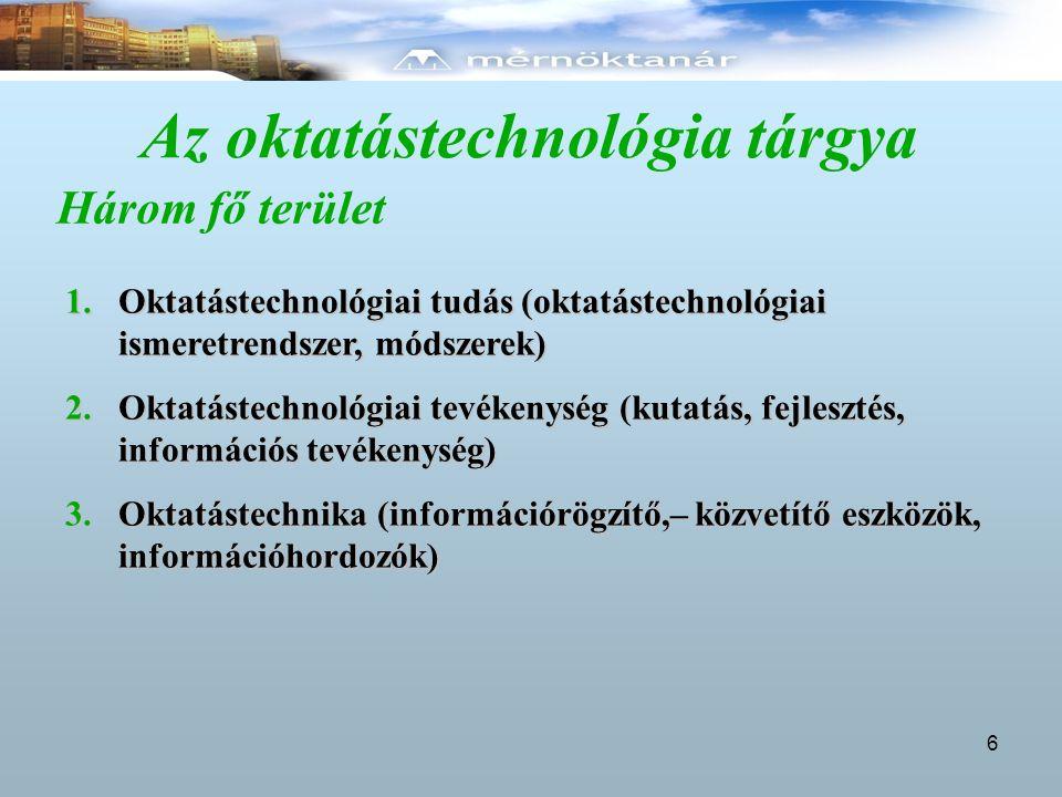 Az oktatástechnológia tárgya Három fő terület 1.Oktatástechnológiai tudás (oktatástechnológiai ismeretrendszer, módszerek) 2.Oktatástechnológiai tevékenység (kutatás, fejlesztés, információs tevékenység) 3.Oktatástechnika (információrögzítő,– közvetítő eszközök, információhordozók) 6