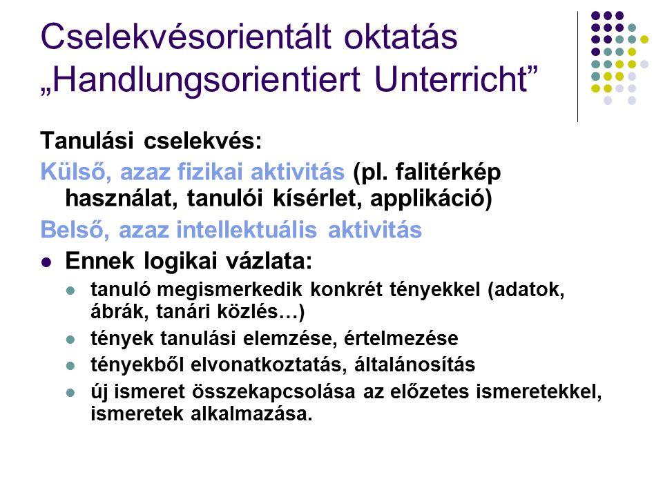"""Cselekvésorientált oktatás """"Handlungsorientiert Unterricht Tanulási cselekvés: Külső, azaz fizikai aktivitás (pl."""