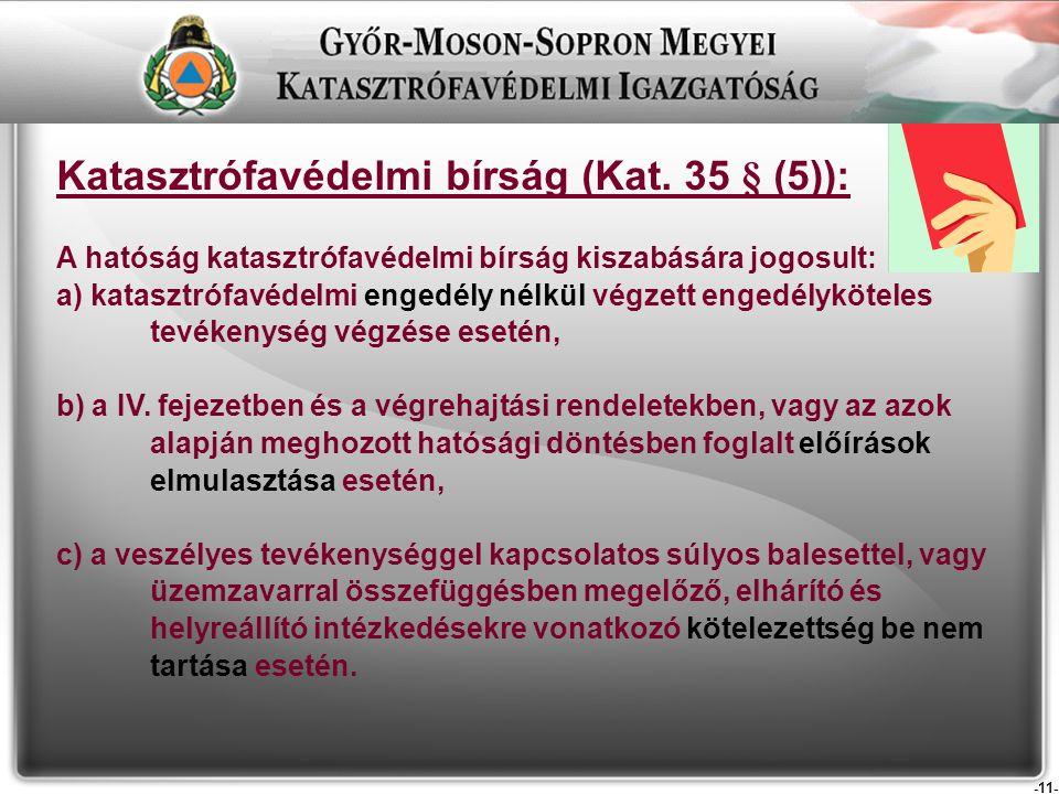 -11- Katasztrófavédelmi bírság (Kat.