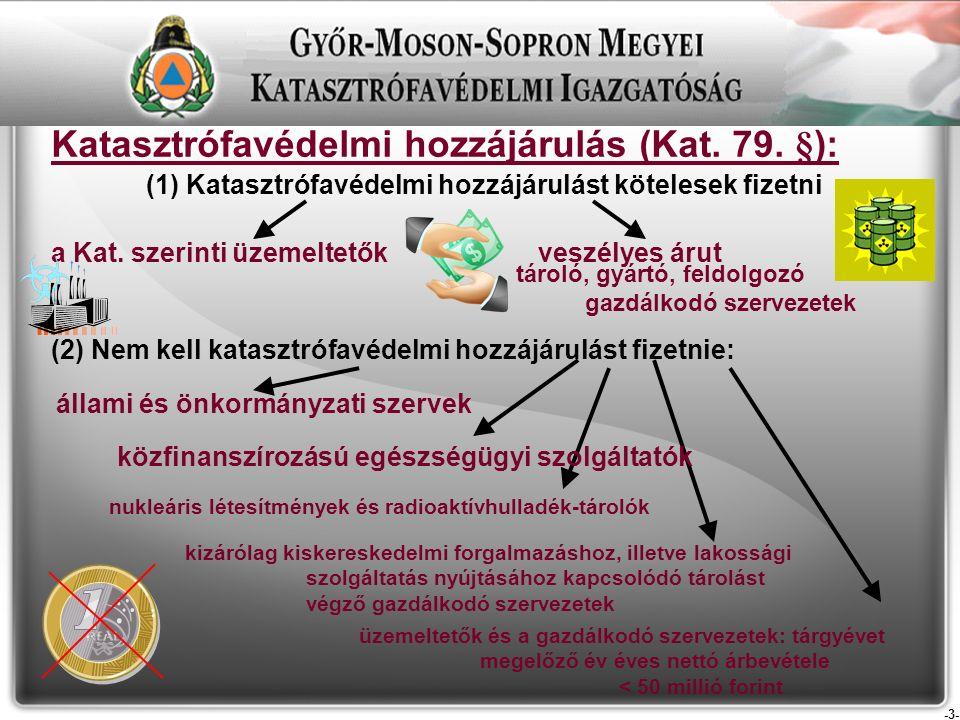 -4- Katasztrófavédelmi hozzájárulás (Kat.79. §): összege Kat.