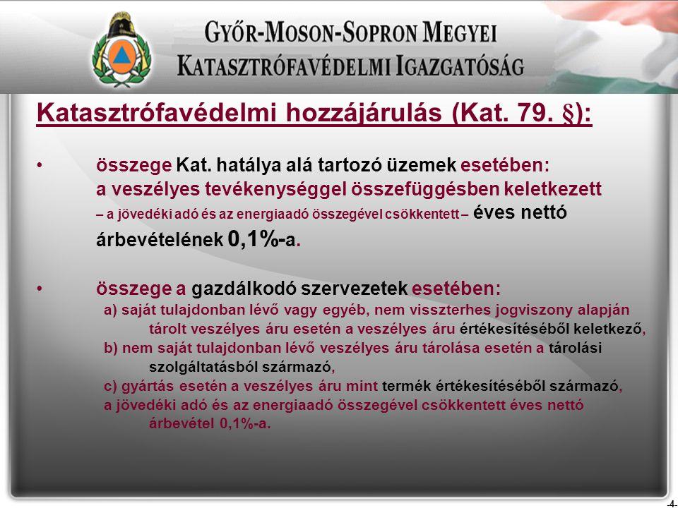 -4- Katasztrófavédelmi hozzájárulás (Kat. 79. §): összege Kat.