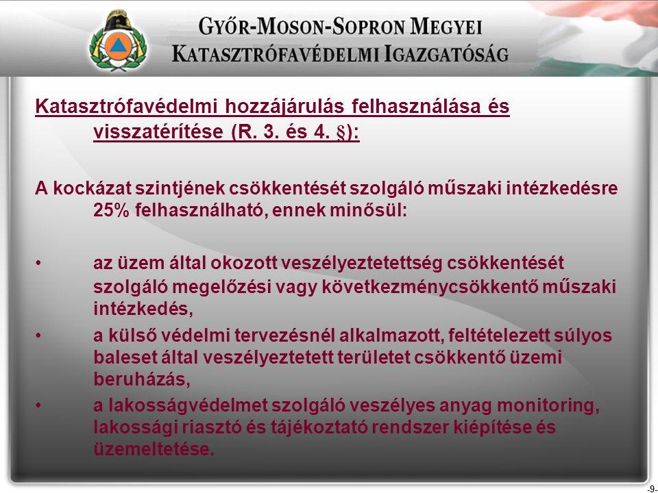 -9- Katasztrófavédelmi hozzájárulás felhasználása és visszatérítése (R.