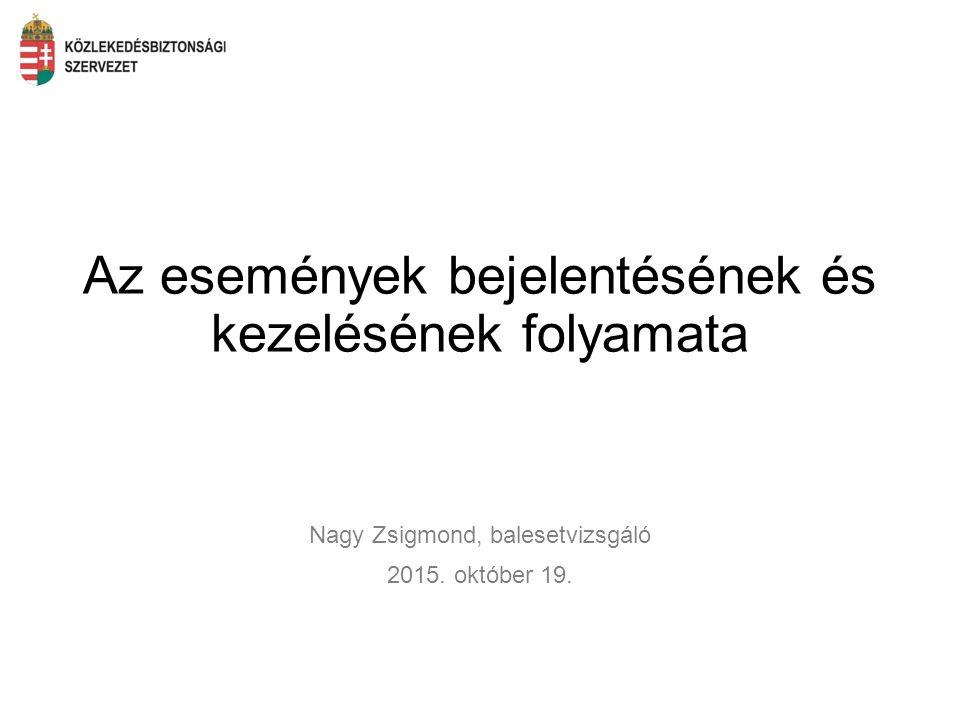 Az események bejelentésének és kezelésének folyamata Nagy Zsigmond, balesetvizsgáló 2015. október 19.