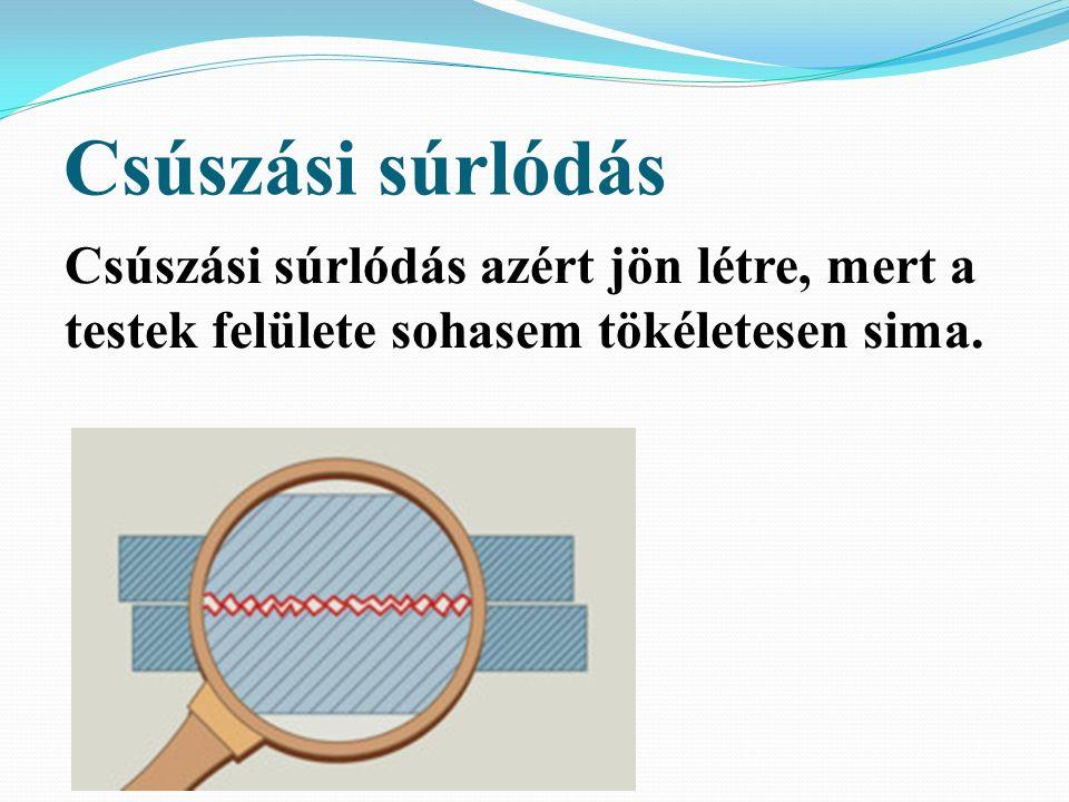 Csúszási súrlódás A csúszási súrlódás az érintkező és egymáson elmozduló testek egymáshoz viszonyított sebességét csökkenti.