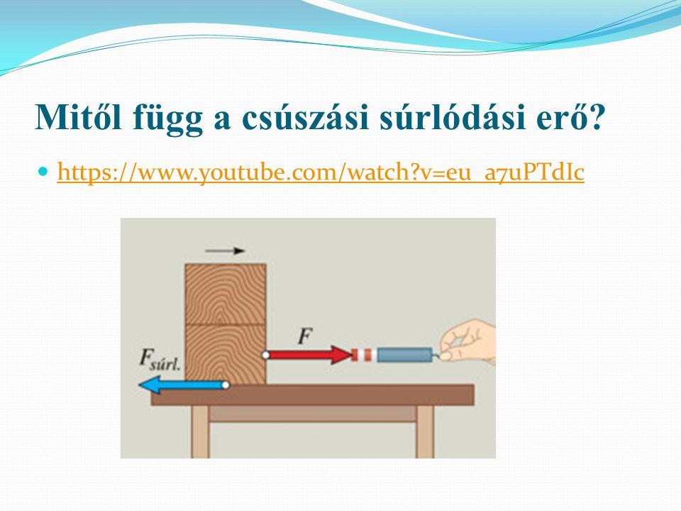 Mitől függ a csúszási súrlódási erő? https://www.youtube.com/watch?v=eu_a7uPTdIc